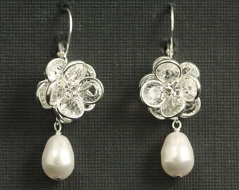 Bridal Earrings, Swarovski Crystal Earrings, Rose Earrings, Wedding Jewelry, Sterling Silver Wedding Earrings -- ROSE GARDEN