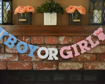 Boy or Girl Banner, Gender Reveal Banner, Gender Reveal Party Decor