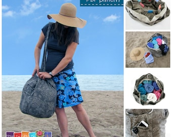 Beach Bag - PDF Sewing Pattern - Instant Download PDF - Tote Bag Pattern - Step by Step Photo Tutorial - Easy Sewing Pattern - Family Size