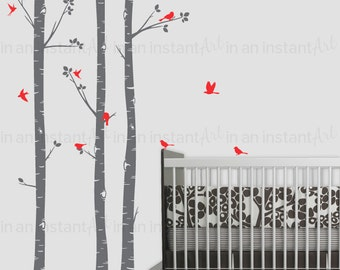 Woodland Birch Tree Wall Decal | Woodland Animals Wall Art | Sticker Pack | Custom Nursery | Kids Wall Stickers | Wall Decal Sticker | 016
