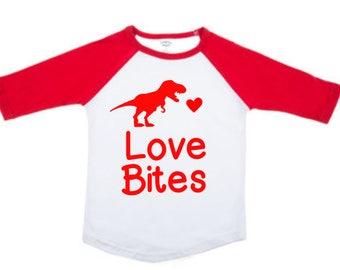 Boys Valentines Shirt - Love Bites Dinosaur Shirt