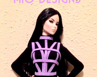 Corset faux suede CAGE Bustier for Fashion Royalty, FR2 Dolls Silk Corset 3 Color Choices