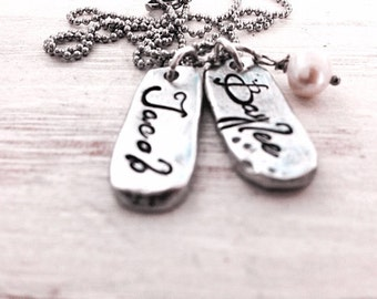 Pewter Mom Necklace 1,2, or 3 Names with Pearl   Hand Stamped Custom Necklaces   Handcrafted and Designed from Fine Pewter   Gifts for Moms