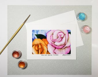 Pink and Orange Flower Greeting Card, Floral Watercolor Card, Original Art Note Cards, Card Set, Blank Handmade Birthday Card, Card for Mom