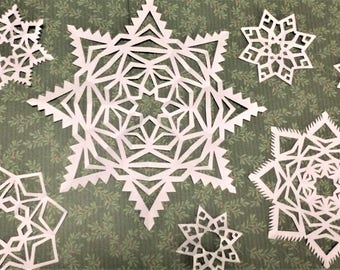 Handmade Paper Snowflakes (12-pack, combo)
