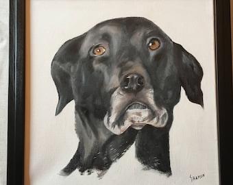 June custom pet portrait with custom wood frame