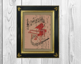 Musical Piano Art Print Printed on Vintage Player Piano Paper Wall Hanging Music Student Teacher Graduation Gift