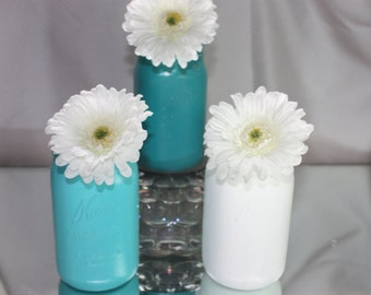 Blue Wedding centerpiece vase Blue and white for your wedding anniversary party sweet 15 party adult birthday party