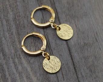 gold brushed disc circle hoops endless hoop huggie dangle earring simple earrings everyday/gift for her