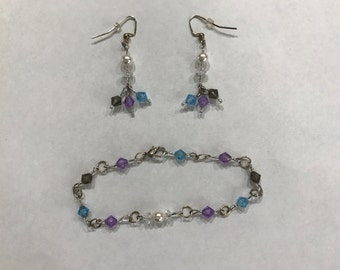Grey Purple Blue Dangle Earrings w/ Bracelet