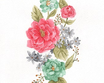 Pink, Green, Grey, Teal Flowers - ORIGINAL Watercolor painting