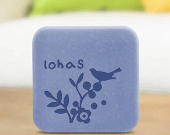 """Handmade Cookie Stamp Seal Soap Stamp - """"Lohas"""" with bird and plants soap stamp - W061"""