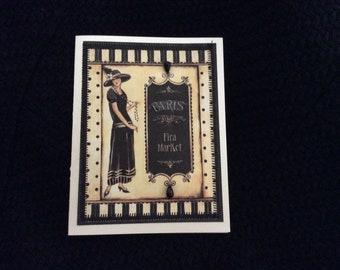 Paris handmade Card   flea Market Hand Stitched Elegant