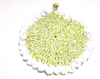 Dream Twists And White Crocheted Round Dish Cloth