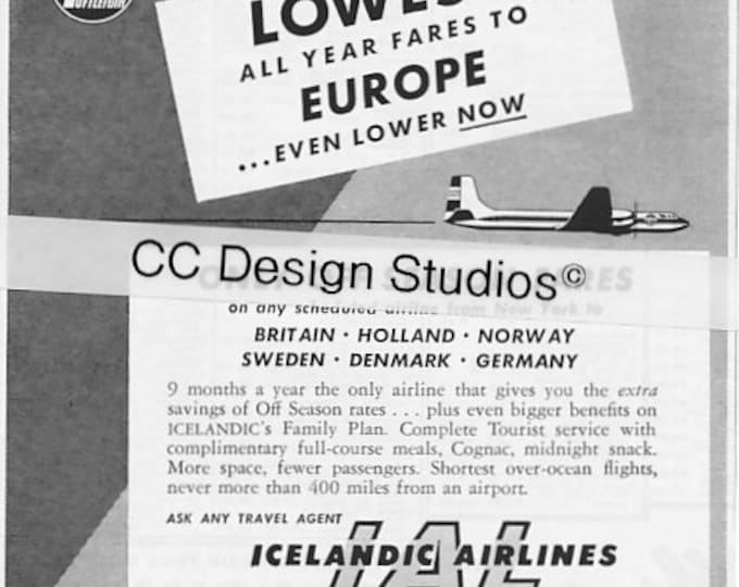 Vintage 1960 Icelandic Airlines Advertisement - IAL to Iceland - Aviation Memorabilia - Europe, Britain, Holland, Norway, Sweden, Germany