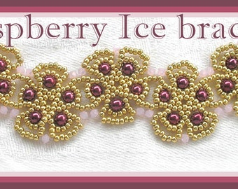 Beading Tutorial - Raspberry Ice bracelet - Netting stitch