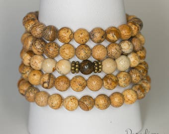 Take Action - Picture Jasper and Bronzite 108 Bead Stretch Wrist Yoga Mala Bracelet