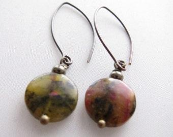 Natural Red Turtle Jasper Earring - Semi-Precious Stone - Long Bronze Ear Wire