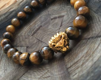 Tiger Eye Gold Lion Head Bracelet
