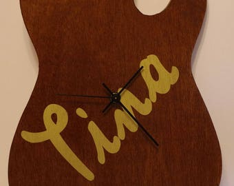 Custom Personalized Guitar Wall Art with Optional Clock