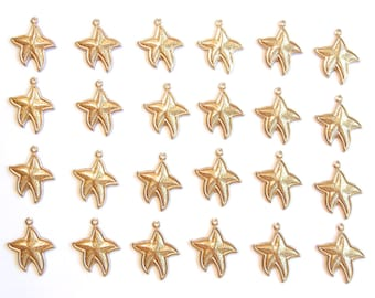 24 Small Brass Starfish Charms
