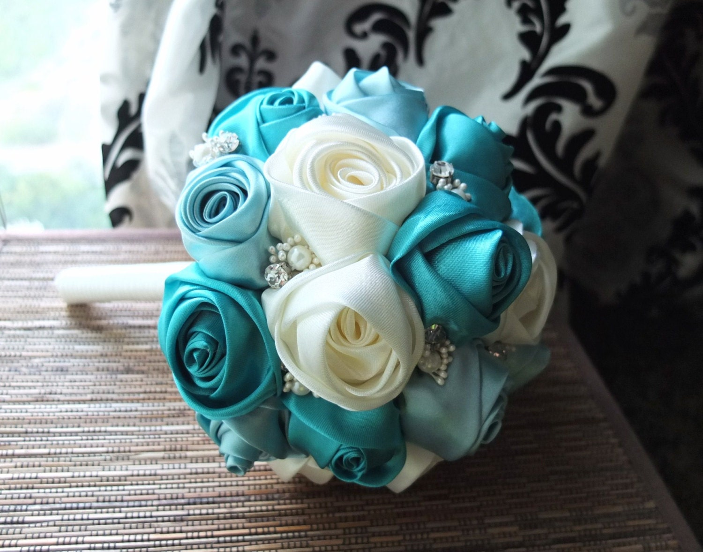 Ribbon Rose Bouquet Satin Rose Bouquet Ivory & Teal Flower