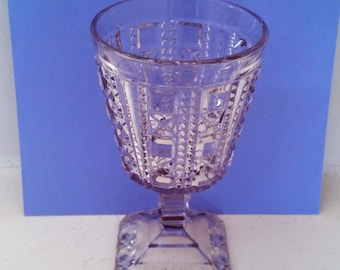 EAPG Goblet - Block & Star Pattern - Water Goblet, Wine - Drinkware - Square Base - 6.5 Inches Tall