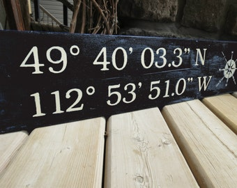 Distressed Latitude Longitude Coordinates Sign - Nautical, Beach, Rustic, GPS, Custom Wood Sign