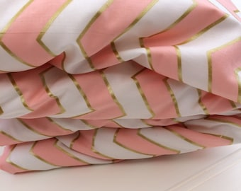 Cot quilt / doona / duvet cover in Pink and Gold