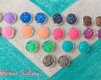 Druzy Stud Earrings. Sparkling Glitter Stud Earrings. Gifts for her. Colorful Earrings