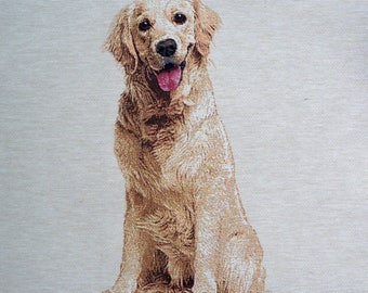 GOLDEN RETRIEVER tapestry panel fabric coupon