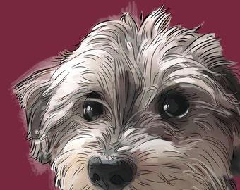 Custom pet portrait Dog portrait 8 x 10 Pet painting Custom portrait Top selling items illustration Pet memorial Best handmade Dogs painting