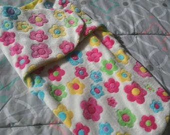 White with Multi Coloured Flowered Baby Sleeping Bag.
