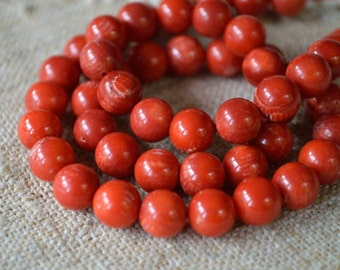 40pcs 10mm Red Bamboo Coral B- Grade Natural Gemstone Beads Round Corals 16 Inches Strand