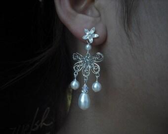 Molly, Bridal Earrings, Long Rhinestone Crystal and Pearl Earrings, Art Deco Vintage Style Bridal Earrings, Weddng Jewelry