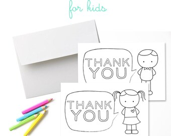 Set of 8 Thank You Cards for Kids. Thank You Cards. Fill-In Thank You Cards. Color-In Thank You Cards. Stationery for Kids. Thank You Notes