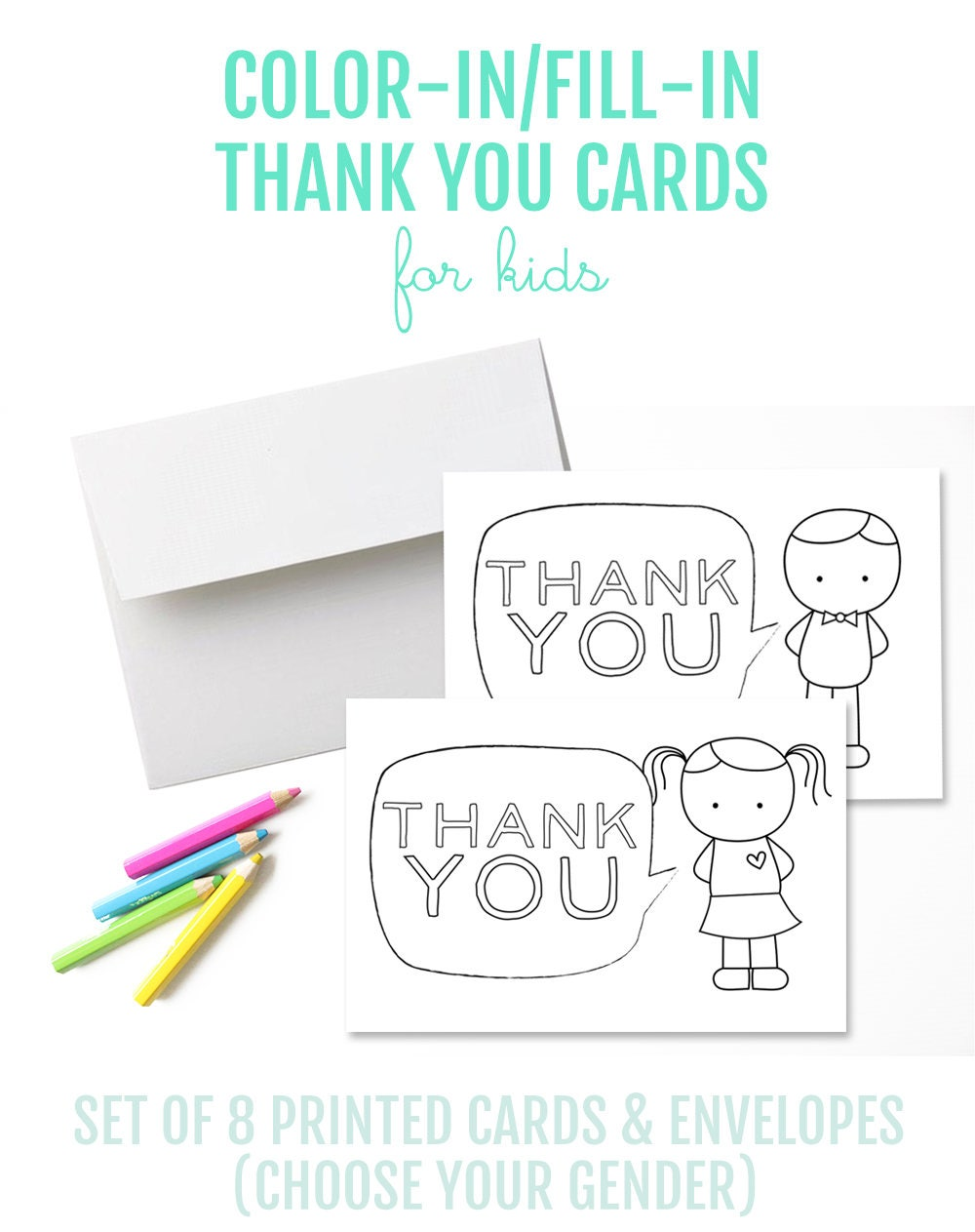 Set of 8 Thank You Cards for Kids. Thank You Cards. Fill-In