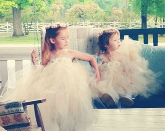 flower girl dress, flower girl dresses, ivory flower girl dress, champagne tutu dress, child dress, baby dress, birthday dress