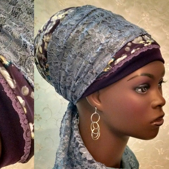Beautiful plum floral and lace sinar tichel, tichels, head wrap, head scarf, Jewish hair covering, hair snood, head covering, hair scarf