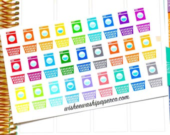 Laundry Stickers - Washing Machine Stickers - Laundry Basket Stickers - Planner Stickers