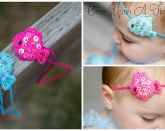 Pick One (1) Summer Tropical Fish Skinny Elastic Headband - Newborn Photo Prop - Baby Girl Hair Bow - Hot Pink Aqua Blue Sequin Fishy Bow