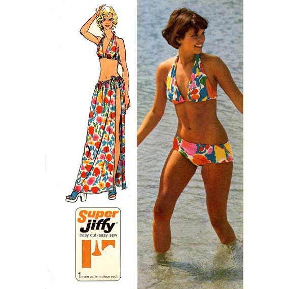 70s vintage bikini and wrap with tie swimsuit bathing suit sewing ...