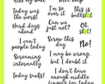 Screaming Internally Planner Stamps - Snarky, Sassy, Funny, Adult - For Erin Condren, Filofax, Happy Planner, Travelers Notebook, Journal