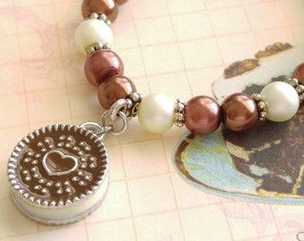 Chocolate Oreo Sandwich Cookie Bracelet Girls Cookie Beaded Bracelet Youth Jewelry Childs Bracelet Strength for the Journey