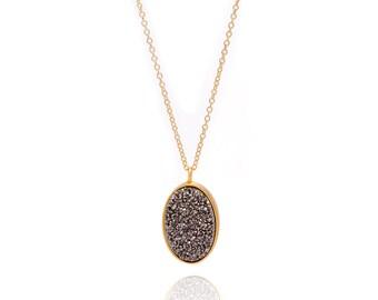 Druzy Necklace - Large Druzy Pendant Necklace - Silver Druzy in Gold Necklace - Big Druzy Chain Necklace - Oval Druzy