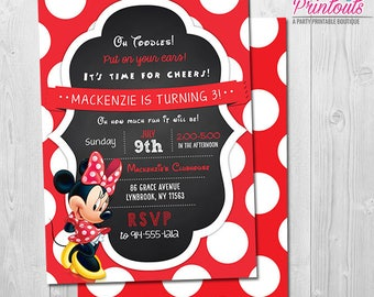 Minnie Mouse Invitation 3rd Birthday Girl, Red Minnie Mouse Invitation, Minnie Birthday Invitation Red, Minnie Invitation 1st Birthday Girl