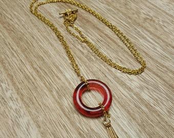 FLAPPER fuschia acrylic pendant gold chain necklace jewelry