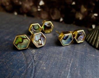 Stud Earrings,Gold Stud Earrings,Post Earrings,Shell Earrings,Shell Stud Earrings,Hexagon Studs Gold,Minimalist Earrings,Gold Shell Earrings