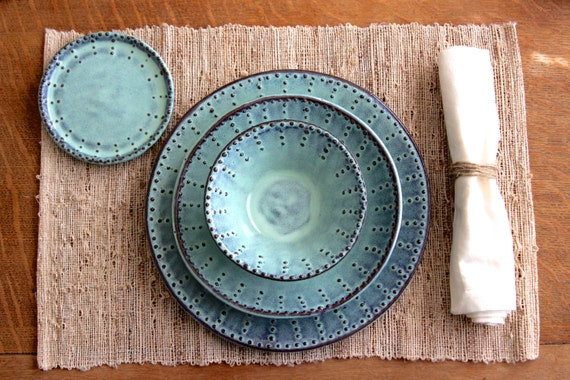 Dinner Plates - Dinnerware 3 Piece Set - Dinner Salad Plate and Bowl - Aqua Mist - French Country - MADE TO ORDER & Dinner Plates Dinnerware 3 Piece Set Dinner Salad Plate