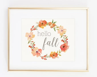 hello fall floral watercolor decor 8x10 art print instant download